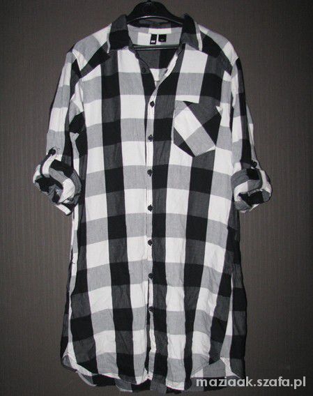 Koszula w kratę H&M oversize 38 hipster