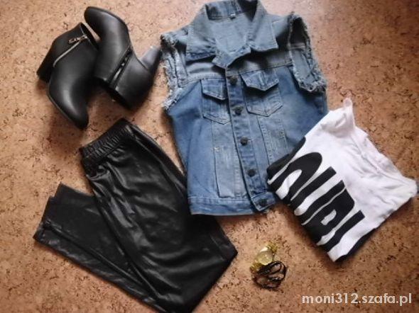 Imprezowe SKórka jeansowa kamizelka botki