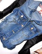 TYLKO DZIŚ jeansowa katana cropp skórzane rękawy