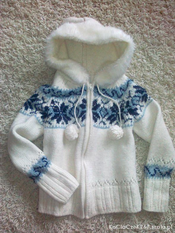 bluza ciepła wełniania z futerkiem i pimponami