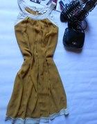 karmelowa zwiewna sukienka XL XXL