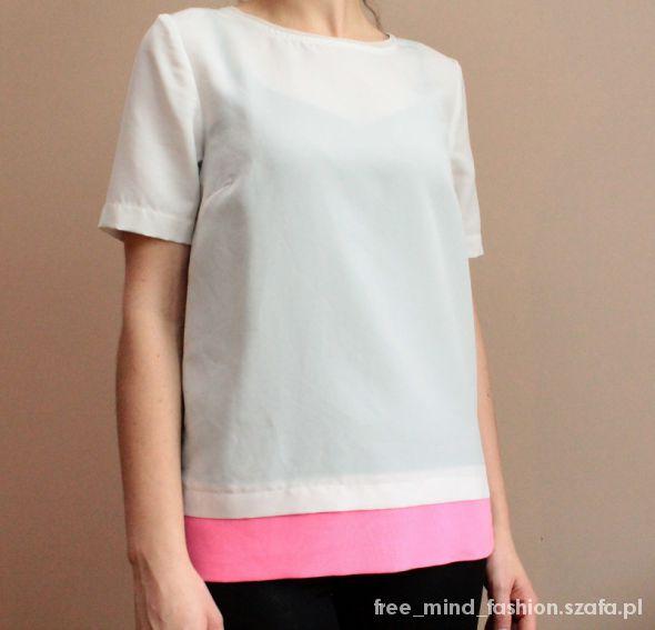 Bluzki Bluzka ecru z zamkiem i różowa wstawką