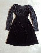 HENNES welurowa sukienka kloszowana krótki rękaw...