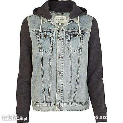 kurtka jeansowa ze skórzanymi rękawami