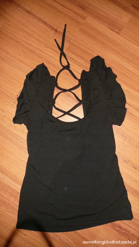 Bluzki czarna wiazana z tylu bluzka