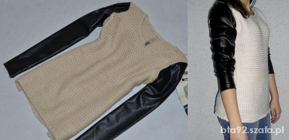 sweter ze skórzanymi rękawami