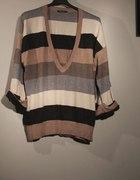 Sweter Oversize w Paski Beż Szary Brąz 44