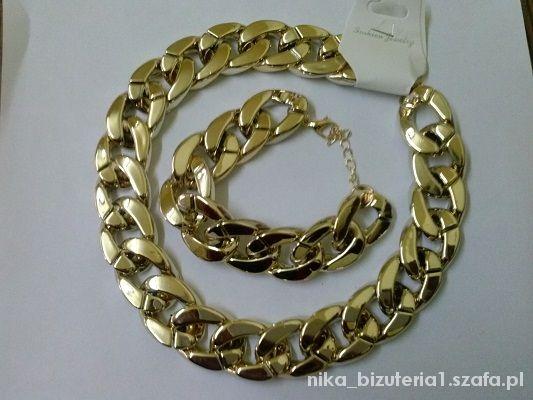 Komplet naszyjnik bransoletka gruby złoty
