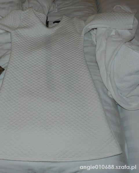 Sukienka tunika pikowana biała złoty suwak...