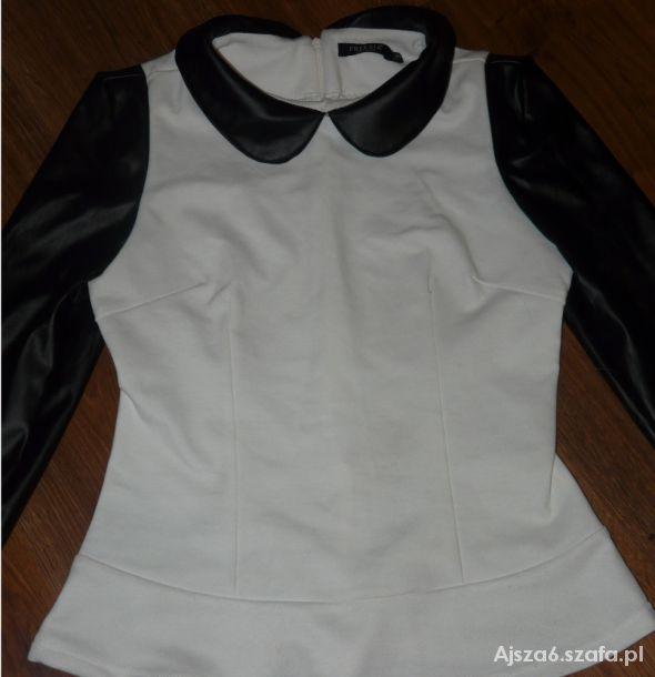 Bluzki Biała bluzka ze skórzanymi rękawami
