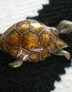 broszka żółw stare złoto