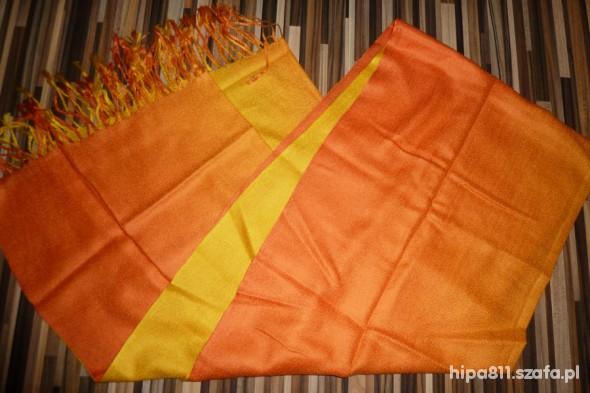 Chusty i apaszki apaszka szal pomarańczowa cieniowana