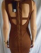 NOWA Sukienka wycięcia na plecach złoty zip