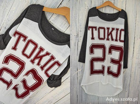 Szaro biała bluzka Tokio 40 L NOWA
