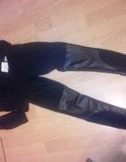 Nowe legginsy wstawki skórka xs