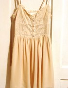 Sukienka nude pudrowa H&M koronkowa XS NOWA