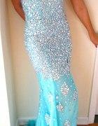 Long Cascading Gown AQUA Dress PAGEANT Formal