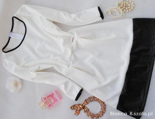 sukienka biala rozkloszowana skorka XS OSTATNIA