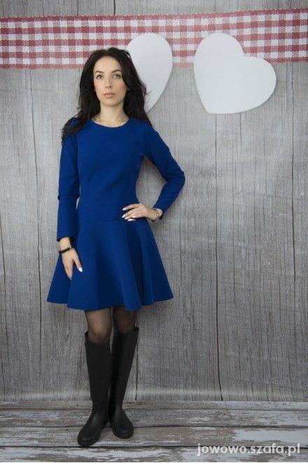 Mój styl Kobaltowa rozkloszowana sukienka