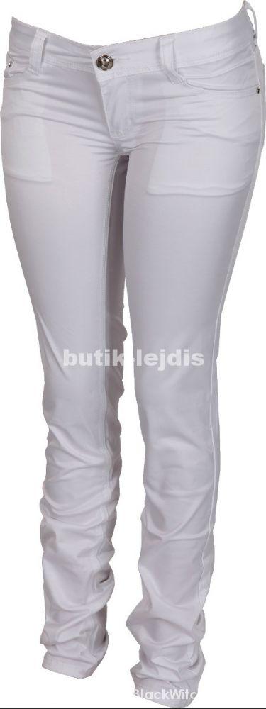 satynowe biale spodnie rurki goodies...