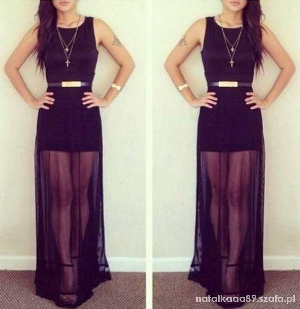 Czarna Sukienka długa Maxi S