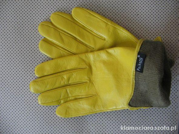 46103044bd9cf3 Skórzane żółte rękawiczki Paikang w Rękawiczki - Szafa.pl
