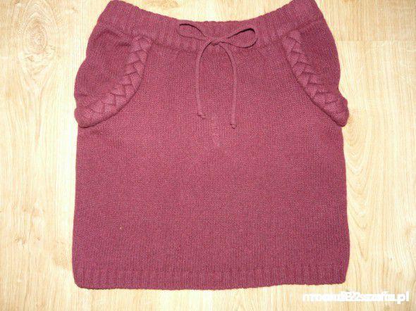 Spódnice Wełniana ciepła spódnicza warkocze bordo PRIMARK