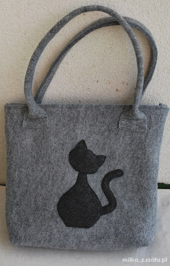 014e52e45be5f Filcowa torba z kotem w Torebki na co dzień - Szafa.pl