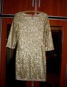 Luksusowa sukienka z cekinów złota...