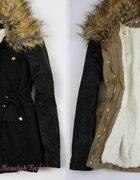 kurtka z misiem futerko zip czarna skora