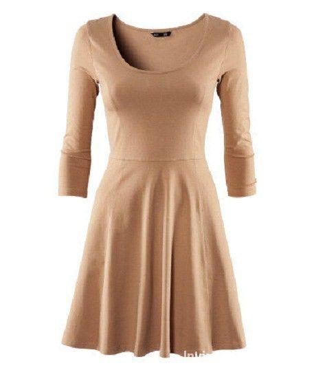 Rozkloszowana sukienka princeska camel H&M