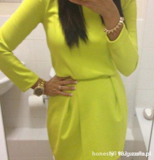 HM sukienka limonkowa neon
