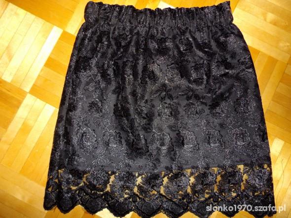 Czarna koronkowa spódniczka koronka spódnica S