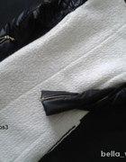 płaszczyk ze skórzanymi rękawymi