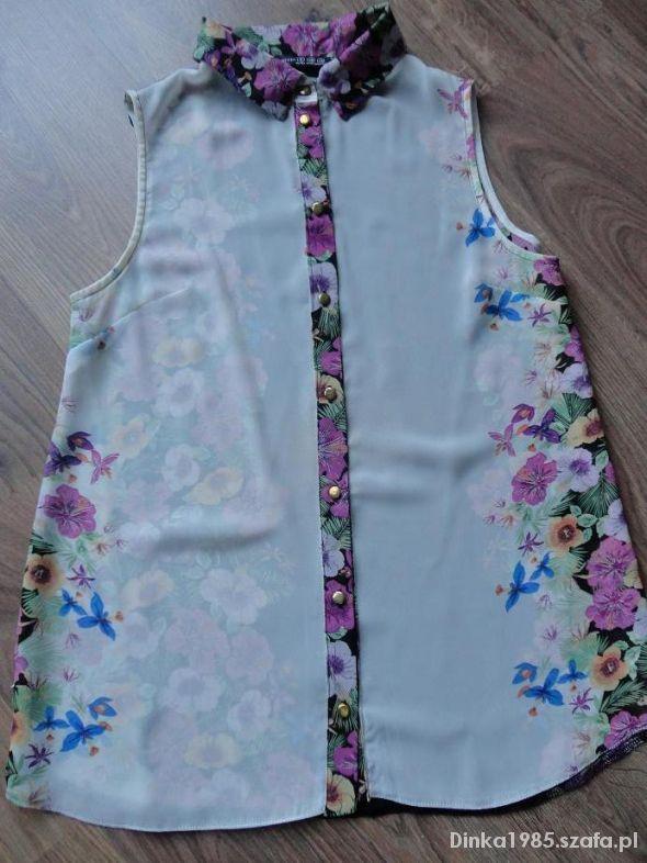 Bluzka koszula floral print szyfon mgiełka kwiaty