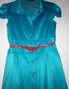 turkusowa sukienka TRYNITE z satyny rozmiar 38