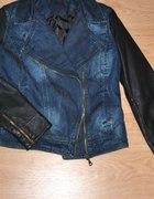 Jeansowa kurtka skórzane rękawy zip