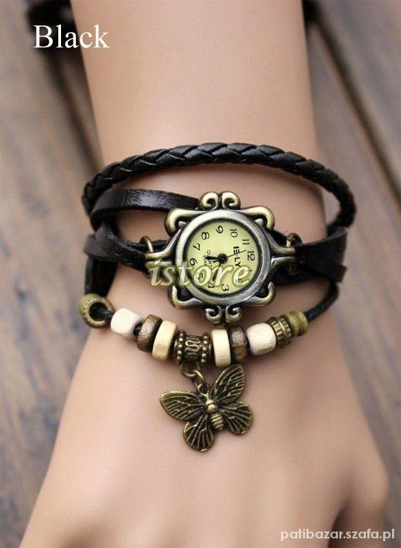 zegarek z koralikami czarny