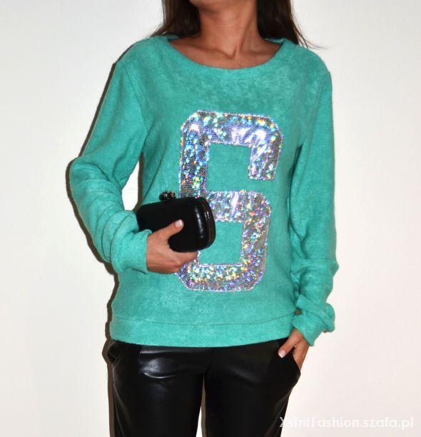 Swetry Bluza sweterkowa z numerem 6 hologram miętowa