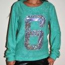 Bluza sweterkowa z numerem 6 hologram miętowa