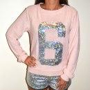 Bluza sweter pudrowy róż z numerem 6 hologram