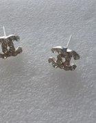 cudne kolczyki chanelki kryształki cyrkonie srebro