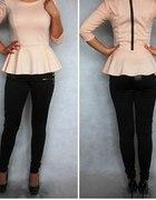 morelowa bluzka baskinka z zipem 34XS brzoskwiniow