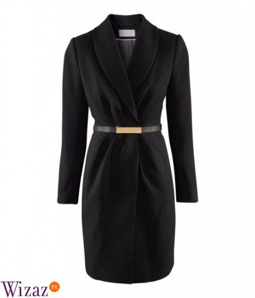 Płaszcz z paskiem H&M trencz czarny 34 36