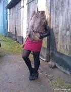 futrzak kamizelka spodniczka burgundowa