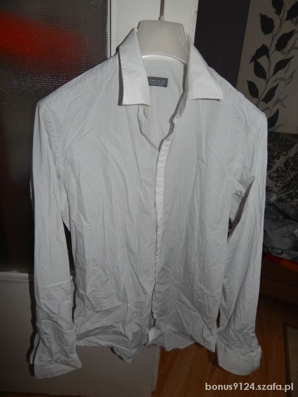 Koszula Męska ZARA MAN biała paski w Koszule Szafa.pl  rUBpB