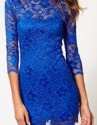 Poszukiwana Kobaltowa koronkowa sukienka M