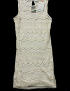 Sukienka Bershka koraliki ecru