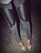 Jeans ze skórzanymi wstawkami