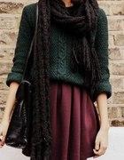 Burgundowa spódniczka zielony sweterek Jesień Zima